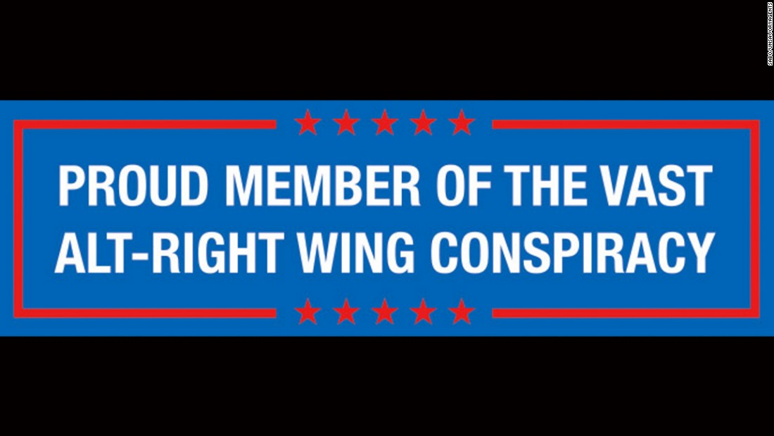 A bumper sticker responds to Clinton's comments on the alt-right movement.