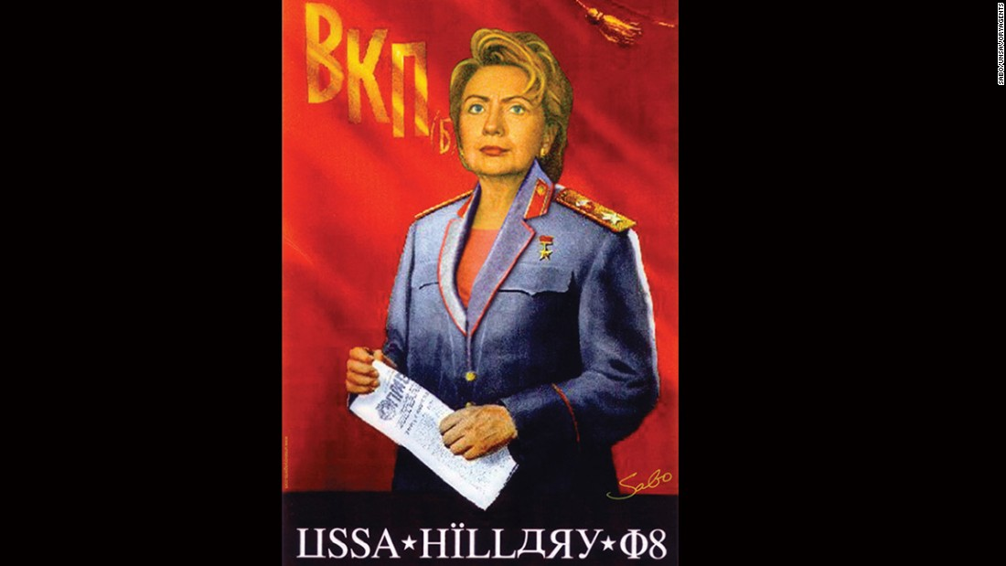 A portrait depicts Clinton as a Soviet leader.