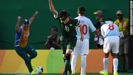 Brazil's captain Ricardinho celebrates after scoring in the men's football 5-a-side final against Iran.