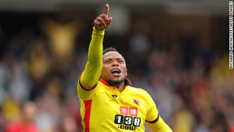 Juan Camilo Zuniga celebrates scoring the second goal for Watford in the 3-1 win over Manchester United.