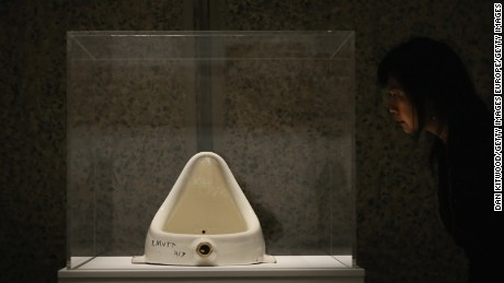 'Fountain' by Marcel Duchamp while on display at the Barbican Art Gallery in London in 2013.