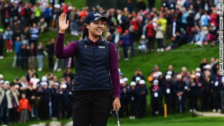 In Gee Chun celebrates after holing the winning putt at Evian-les-Bains to claim her second major title.