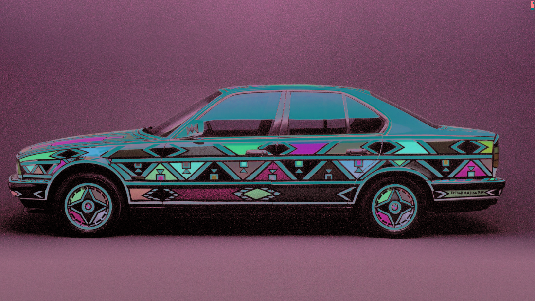 "25 years ago Mahlangu created a BMW ""Art Car""  showcasing her unique and striking artistic style."