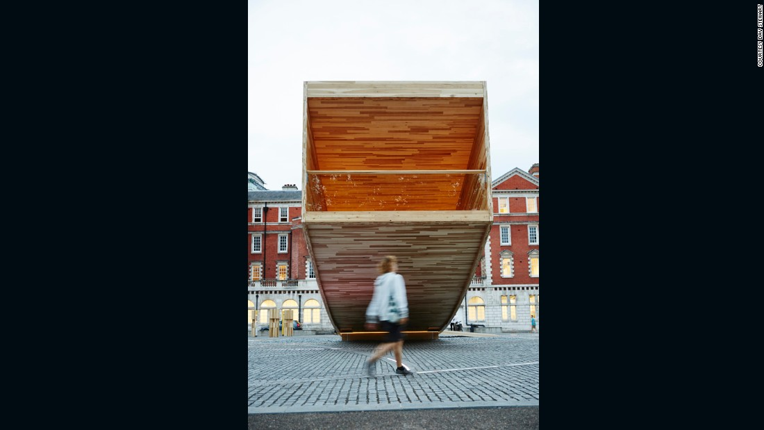 """The Smile"" showcases the structural and spatial potential of cross-laminated American tulipwood, which is stronger than concrete, and can also be machined to incredibly high tolerances."