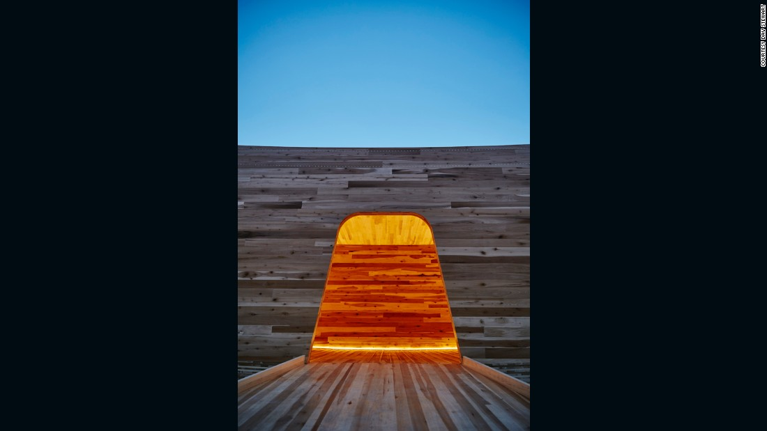 """Alison Brooks' concept is the first ever """"mega-tube"""" made with construction-sized panels of hardwood CLT."""