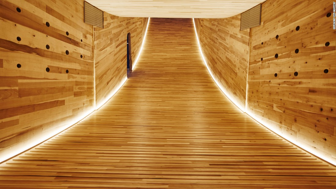 The large structure shows the potential of cross-laminated American tulipwood, which is stronger than concrete.