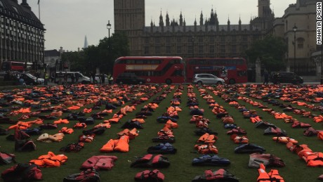 2500 lifejackets were on display in London.