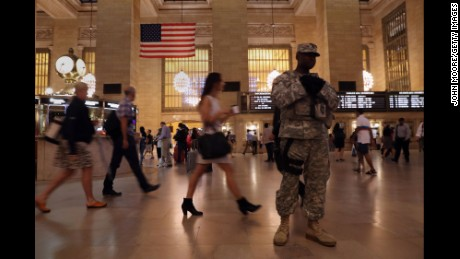 A National Guardsman stands in Grand Central Station on September 19, 2016.