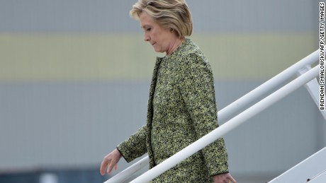 Democratic presidential nominee Hillary Clinton arrives at Philadelphia International Airport September 19, 2016 in Philadelphia, Pennsylvania.