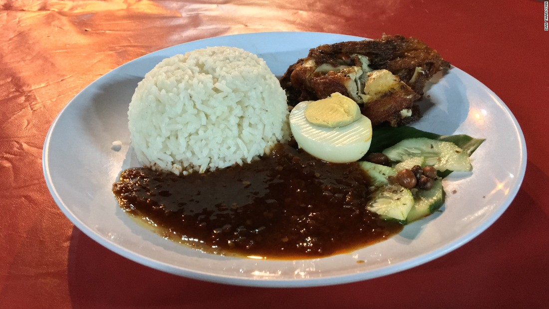 "Nasi Lemak, a popular dish served at Nasi Lemak Famous, literally translates into ""fatty rice."""