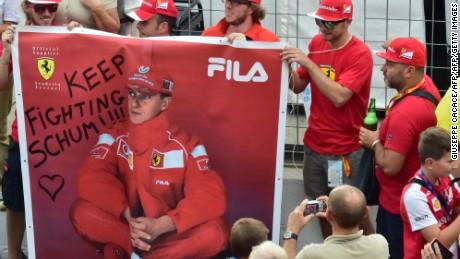 Ferrari supporters wish Schumacher well at Monza in 2014.