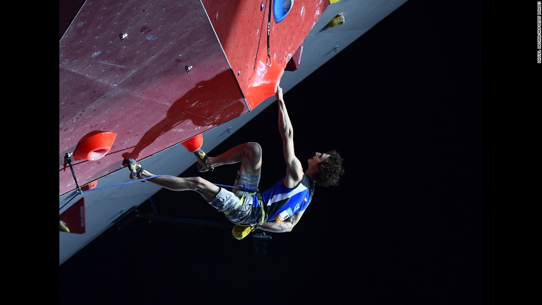 Czech rock climber Adam Ondra takes part in the Climbing World Championships on Sunday, September 18. He finished first in the lead discipline.