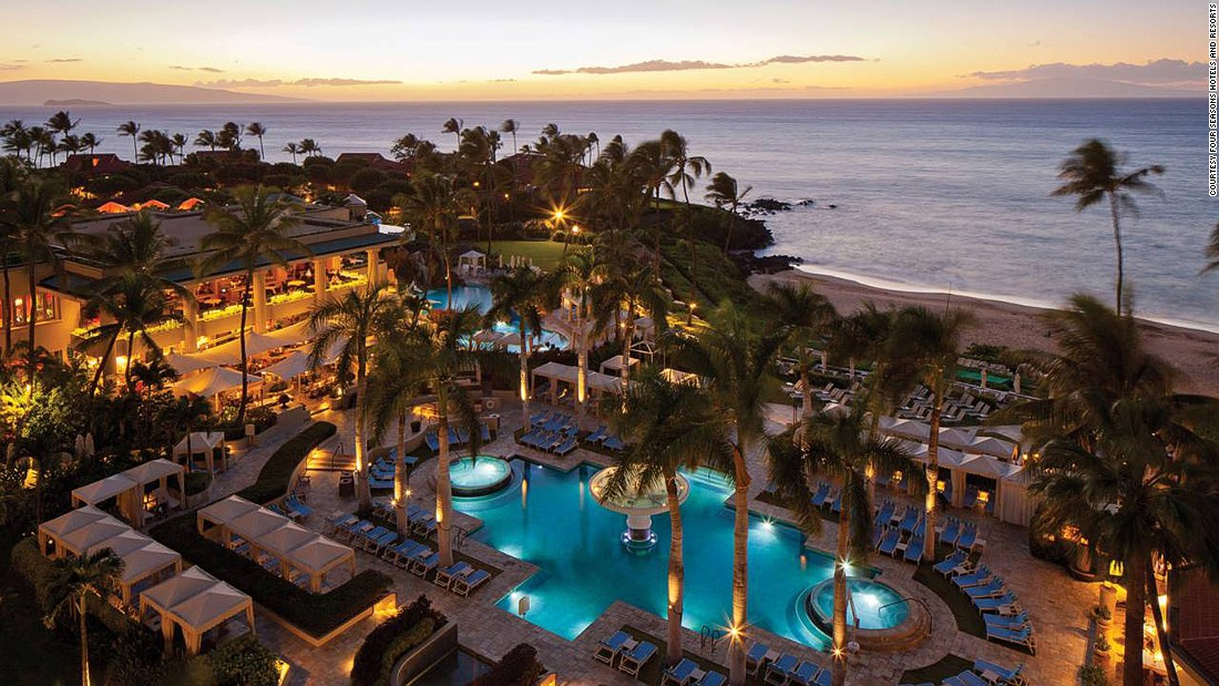 The Four Seasons Resort Maui at Wailea is in the shape of a horseshoe to ensure optimal views of the Pacific from almost every suite.
