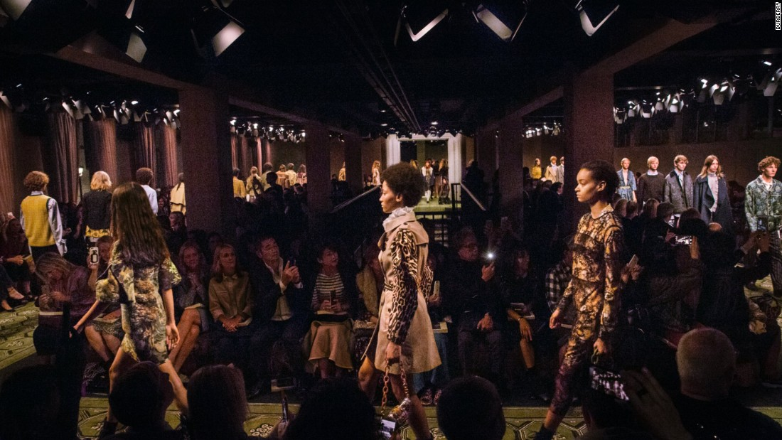 British fashion house Burberry showed its latest collection in London's Soho area, in a new venue called Makers House.