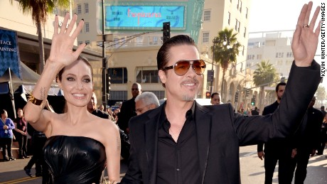 "Actors Angelina Jolie and Brad Pitt attend the World Premiere of Disney's ""Maleficent"" at the El Capitan Theatre in 2014 in Hollywood, California."