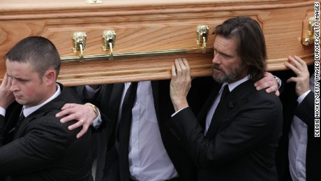TIPPERARY, IRELAND - OCTOBER 10:  Jim Carrey attends The Funeral of Cathriona White on October 10, 2015 in Cappawhite, Tipperary, Ireland.  (Photo by Debbie Hickey/Getty Images)