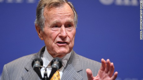 "Former president George H.W. Bush introduces US President Barack Obama in 2009 during the ""Points of Light"" forum at Texas A&M University?s Rudder Auditorium in College Station, Texas."