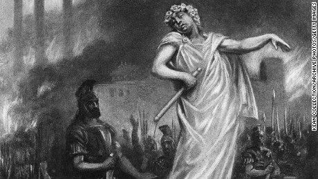 Depiction of Nero standing amid the ruins of Rome as it burns