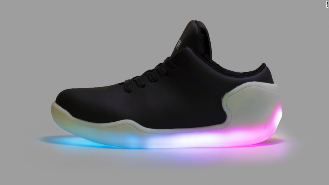 The Orphe app enables users to control the color of the LED lights. Designed by No New Folk Studio, in Japan, the shoes' motion data and light patterns can be shared with others online.