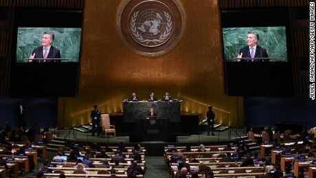 Argentina's President Mauricio Macri addresses the 71st session of the United Nations General Assembly at the UN headquarters in New York on September 20, 2016.  / AFP / Jewel SAMAD        (Photo credit should read JEWEL SAMAD/AFP/Getty Images)