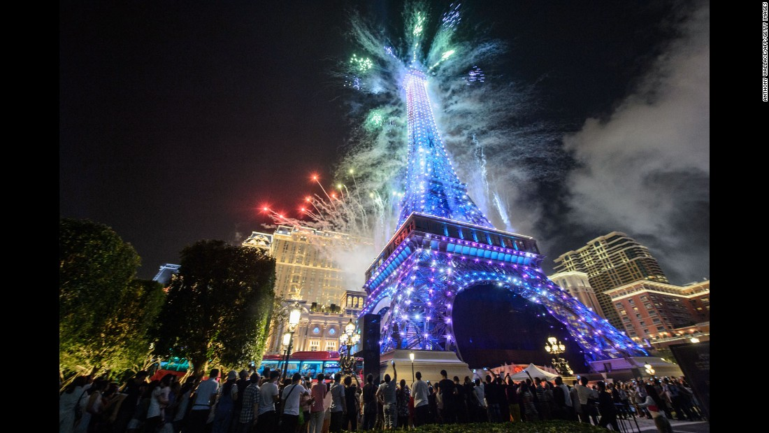 We'll always have ... Macau. This replica of the Eiffel Tower, exploding with fireworks, is part of The Parisian, a new Sands mega resort in the southern Chinese territory that's already a popular destination for gambling in Asia.
