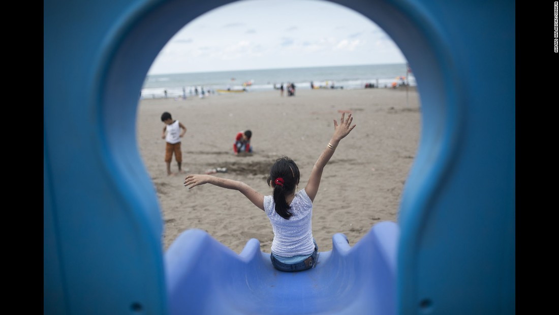 Doesn't matter where you are in the world, kids will always love slides -- and beaches. This stretch of sand near Anzali Port, northern Iran, looks out over the Caspian Sea, the world's largest inland body of water.