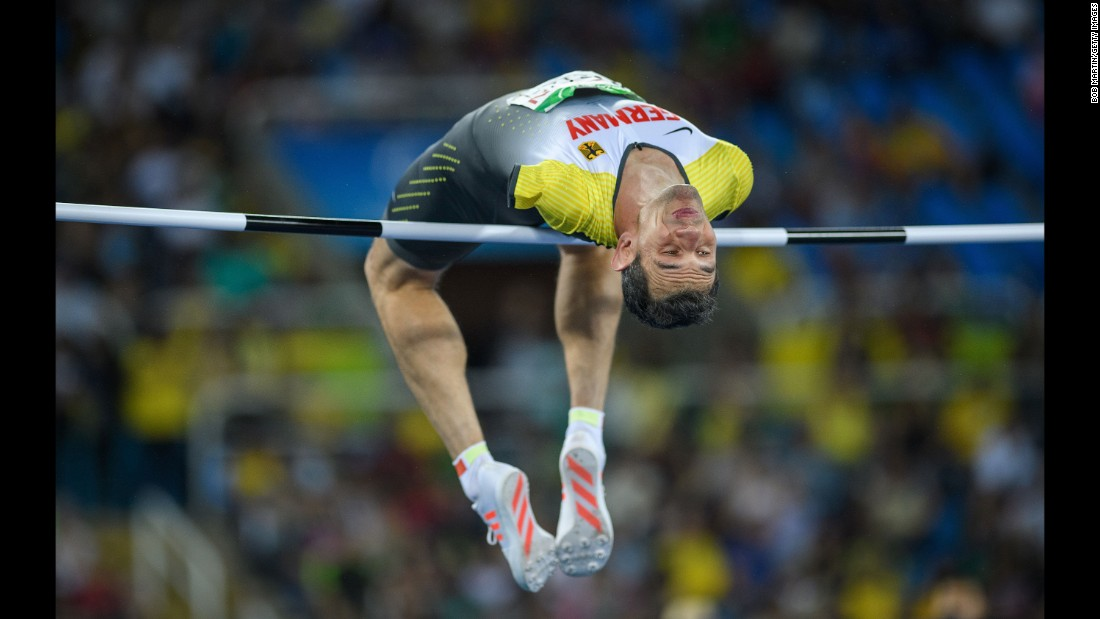 Germany's Reinhold Boetzel competes in the high jump final during the Paralympics.