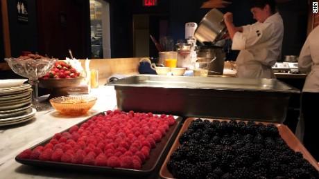 Pastry cook Betty Franks prepares dessert.