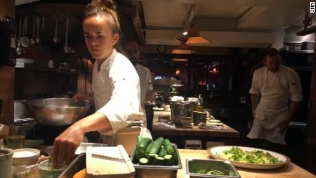 Restaurant cook Phoebe Halsey at work.