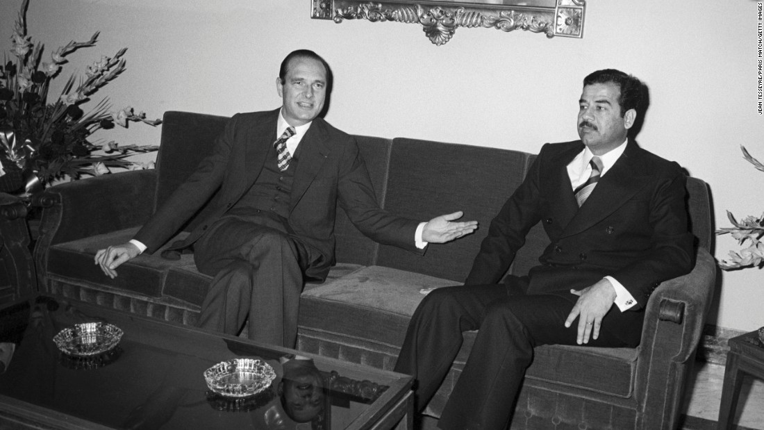 Chirac, as France's prime minister, meets with Saddam Hussein in Baghdad, Iraq, in 1974. Prior to becoming prime minister, Chirac served as agriculture minister as well as the minister of economy and finance.