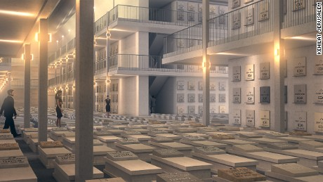 Artist's rendering of the completed underground cemetery, showing graves on the floor and in the wall