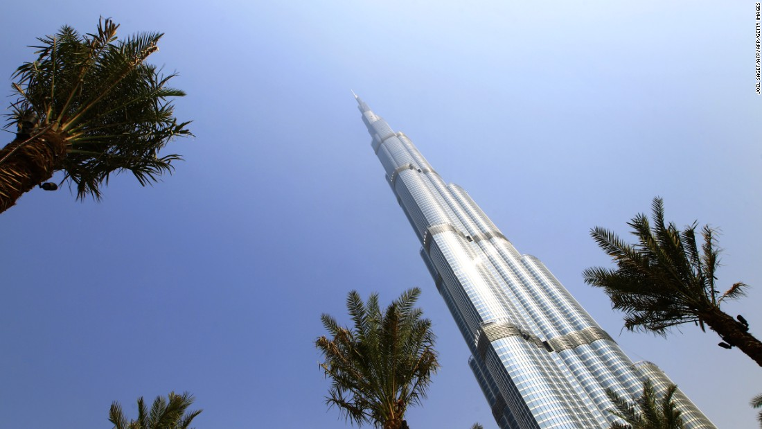 "Dubai's Burj Khalifa building is the world's tallest tower. An excellent example of the ""International Style"" of skyscraper -- essentially, a prismatic glass facade wrapped around around a central core."