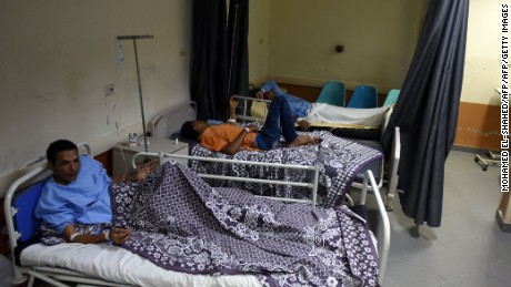 Survivors from the capsized boat in hospital in Rashid