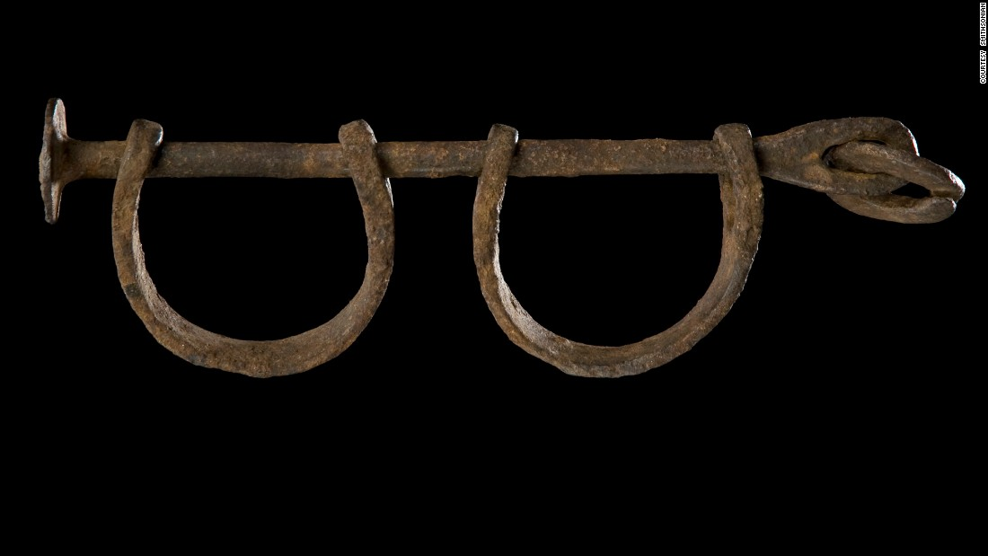 "The story begins below ground in the museum's ""Slavery and Freedom"" exhibit, which starts with the 15th-century transatlantic slave trade and takes visitors through the Civil War and the Emancipation Proclamation. These are pre-1860s shackles."