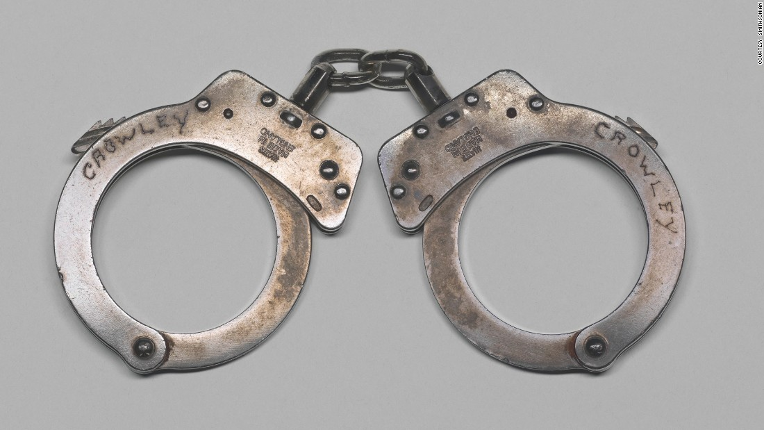 "These handcuffs were used <a href=""http://www.cnn.com/2009/CRIME/07/21/massachusetts.harvard.professor.arrested/"">in the 2009 arrest </a>of Harvard University professor Henry Louis Gates, Jr., in front of his home in Cambridge, Massachusetts. Gates donated the handcuffs to the museum."