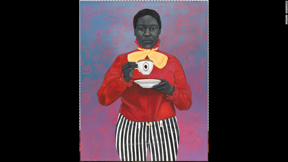 "In ""Grand Dame Queenie,""  her 2012 oil painting, contemporary artist <a href=""http://www.amysherald.com/"" target=""_blank"">Amy Sherald</a> explored themes of race, gender and identity. Born in Columbus, Georgia, and now living in Baltimore, Sherald's work is also in National Museum of Women in the Arts."