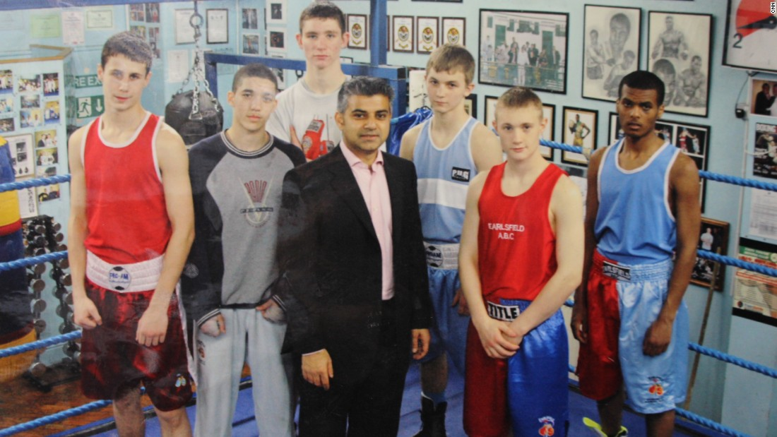 Sadiq Khan (middle) still regularly visits Earlsfield ABC, where his brothers and nephews are fixtures. This photo of Khan with young prospects hangs on the wall of the club.