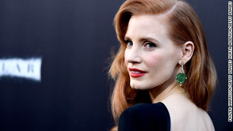 """HOLLYWOOD, CA - OCTOBER 26:  Actress Jessica Chastain attends the premiere of Paramount Pictures' """"Interstellar"""" at TCL Chinese Theatre IMAX on October 26, 2014 in Hollywood, California.  (Photo by Frazer Harrison/Getty Images)"""