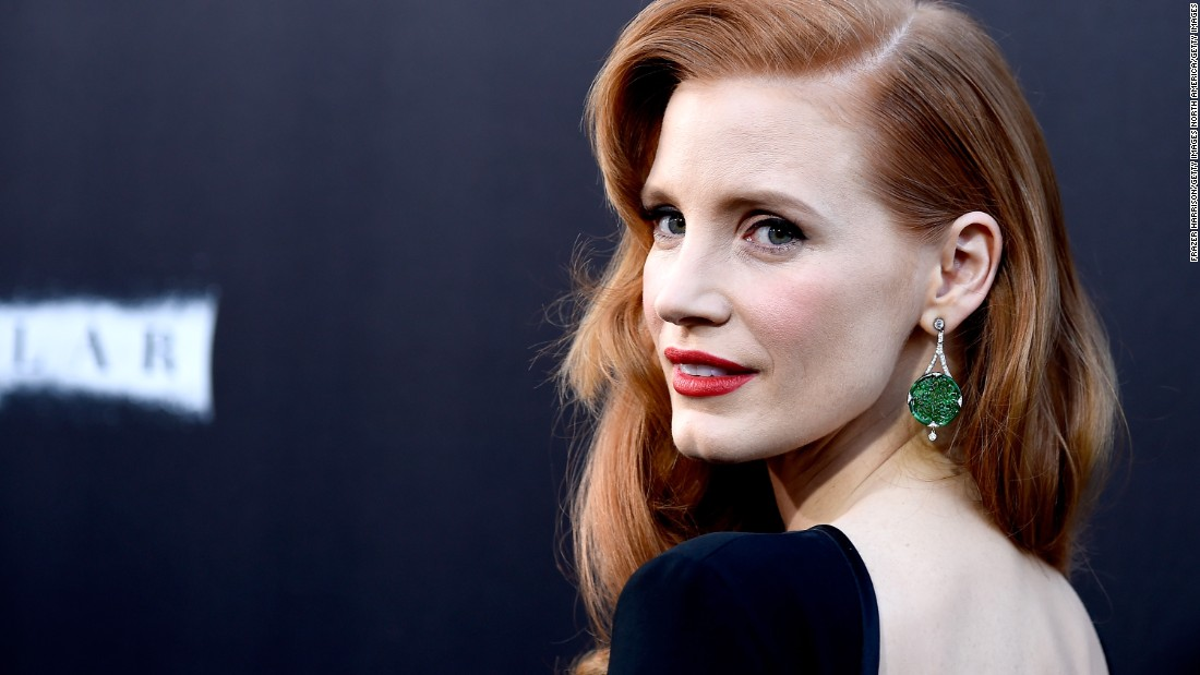 "Jade is growing more popular in the West. Here actress Jessica Chastain attends the 2014 Hollywood premiere of ""Interstellar"" wearing a pair of finely carved jadeite earrings."
