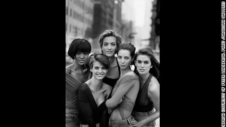 Naomi Campbell, Linda Evangelista, Tatjana Patitz, Christy Turlington & Cindy Crawford, New York, 1990 shot by Peter Lindbergh for Vogue