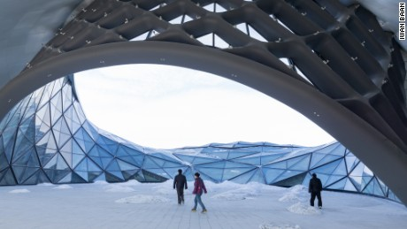 The Harbin Opera House's outdoor spaces feel like extensions of the snowy surrounds.