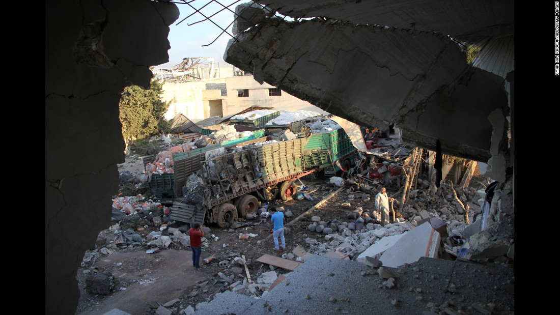 "An aid convoy was bombed in the area of Urum al-Kubra, Syria, on Monday, September 19. It is not clear who was responsible for the airstrike, which the International Committee of the Red Cross said killed about 20 people as well as the director of the Red Crescent's Urum al-Kubra branch. The United States <a href=""http://www.cnn.com/2016/09/20/politics/syria-convoy-strike-us-conclusion-russia/"" target=""_blank"">has reached the preliminary conclusion</a> that Russian warplanes bombed the convoy, two U.S. officials told CNN. Russia denies it was responsible and says that terrorists carried out the attack."