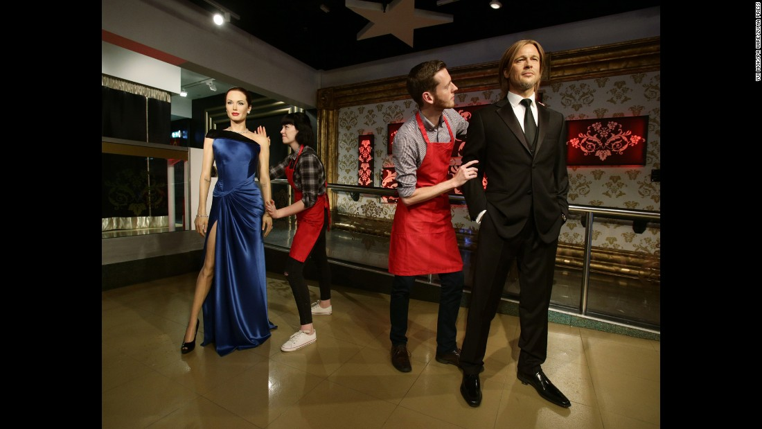 "Wax figures of Angelina Jolie and Brad Pitt are moved apart at Madame Tussauds London on Wednesday, September 21. Jolie <a href=""http://www.cnn.com/2016/09/20/entertainment/angelina-jolie-brad-pitt-divorce/"" target=""_blank"">has filed for divorce,</a> citing irreconcilable differences. The actors were married in August 2014."