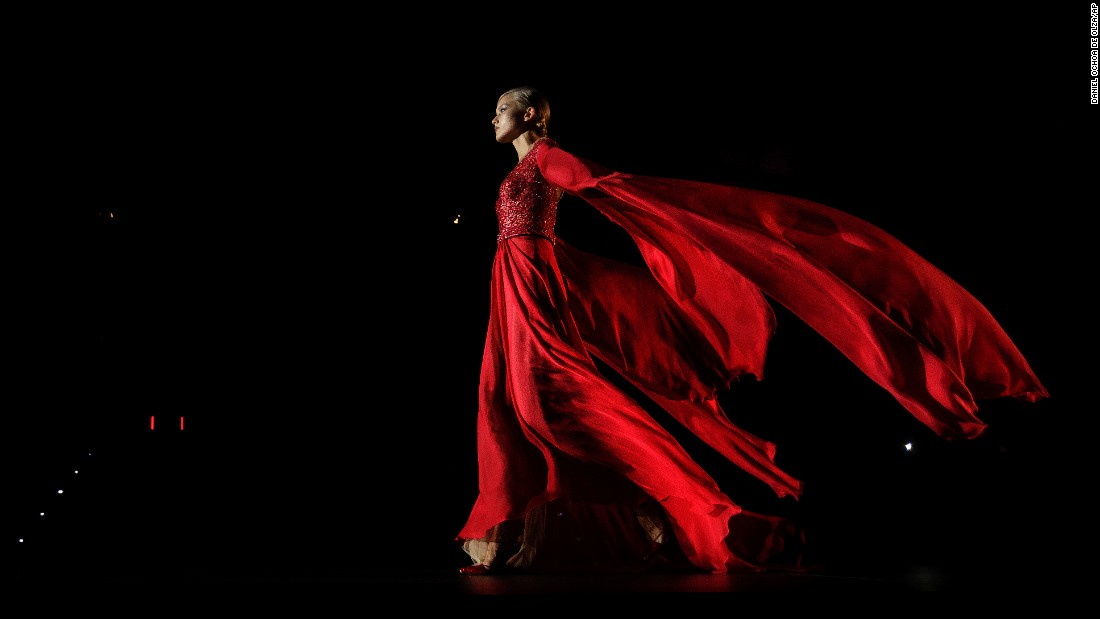 A model displays a creation by Hannibal Laguna during Madrid's Fashion Week on Saturday, September 17.