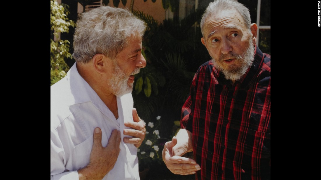 "Fidel Castro meets with ex-Brazilian President Luiz Inacio Lula da Silva. According to Alex Castro, Lula da Silva is the only politician who talks as much as his father. ""They both are talking the whole time,"" he said."