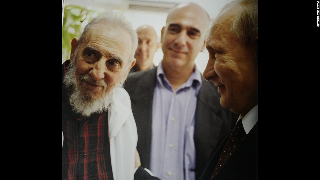 "Russian President Vladimir Putin visits Fidel Castro in 2014. According to Alex Castro, Putin ""feels respect and affection"" for his father."