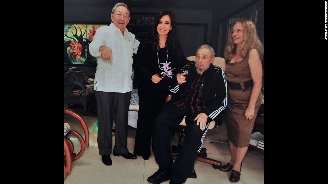Then-Argentine President Cristina Fernandez de Kirchner with Raul and Fidel Castro in Havana in 2013.