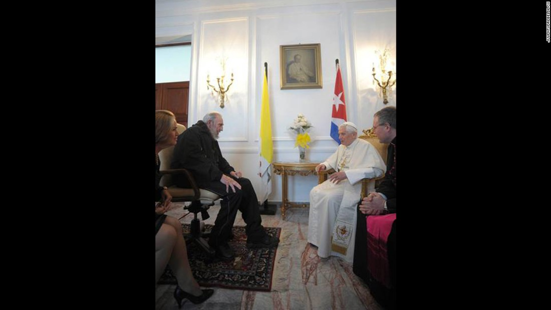 Pope Benedict XVI and Fidel Castro discuss world issues and exchange gifts in March 2012.
