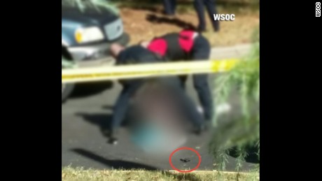 In a photo obtained by an affiliate WSOC source, a photo shows the scene where Keith Scott was fatally shot by police.