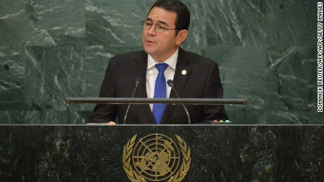 Jimmy Morales, President of Guatemala, addresses the 71st session of the United Nations General Assembly at the UN headquarters in New York on September 22, 2016.  / AFP / DOMINICK REUTER        (Photo credit should read DOMINICK REUTER/AFP/Getty Images)